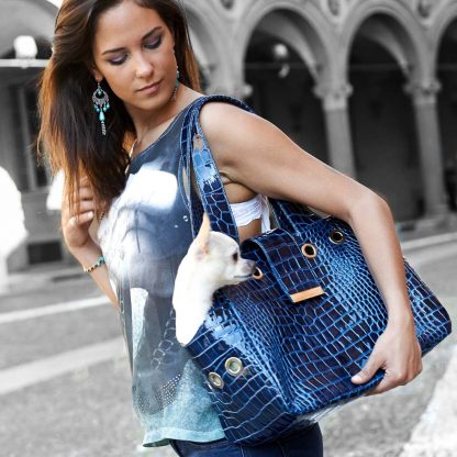 dog bag carrier in blue leather with dog