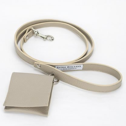 dog leather leash in beige colour