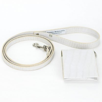 dog leashes in white printed leather