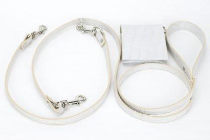 guinzaglio per due cani doppio stampato bianco