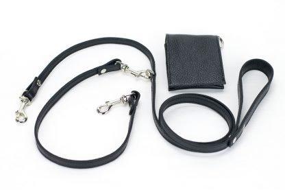 guinzaglio per due cani in pelle nero