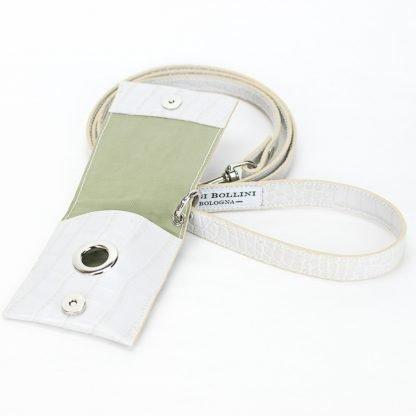 guinzaglio in pelle stampata bianco con bustina aperto