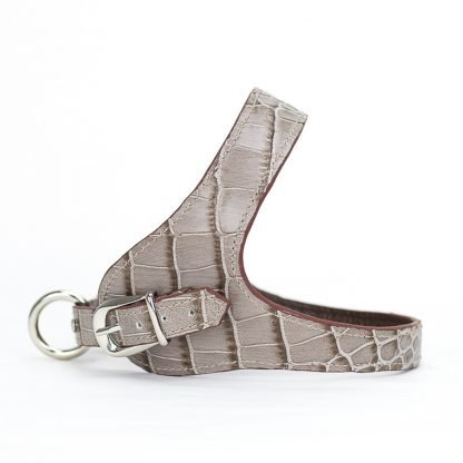 leather dog harness printed brown