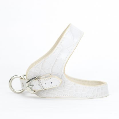 leather dog harness printed white