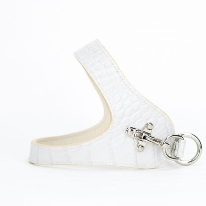 white leather dog harness printed cocco