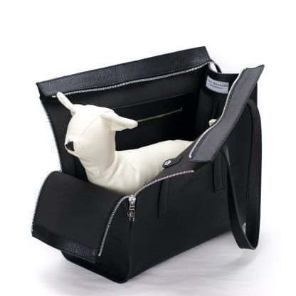 dog carrier black leather with dog