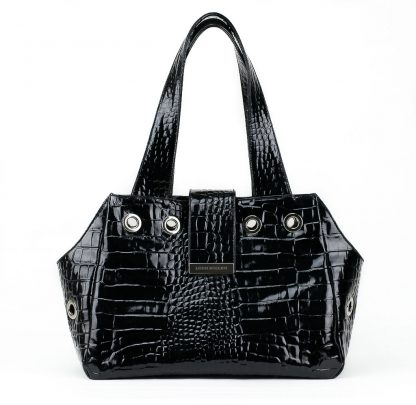 dog bag in black patent leather