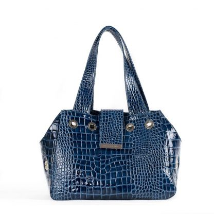 dog bag blue patent leather