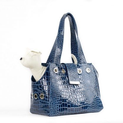 dog bag in blue patent leather with dog