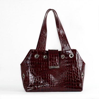 dog bag burgundy patent leather