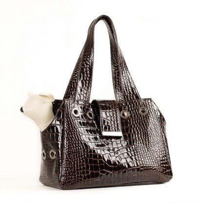 dog bag in brown patent leather with dog