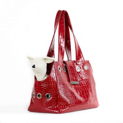 dog bag in red patent leather