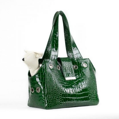 dog bag in green leather