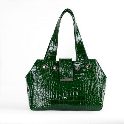 dog bag green patent leather