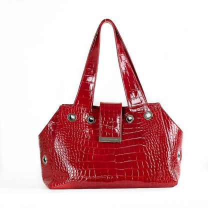 dog bag red patent leather