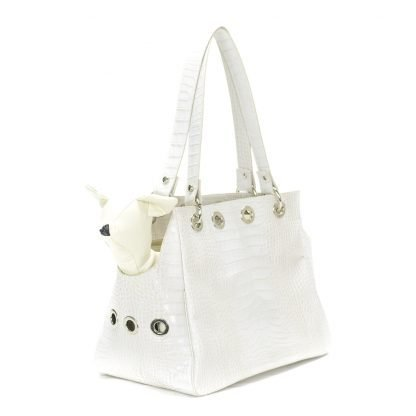pet carrier printed leather white