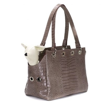 pet carrier printed leather brown