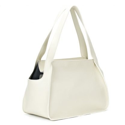 dog carrier tote in soft leather white
