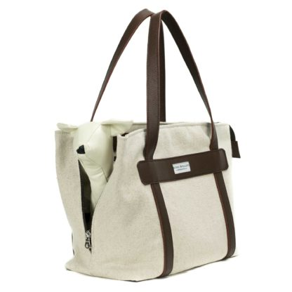 canvas dog carrier with leather brown and dog inside
