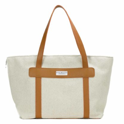 canvas dog carrier with leather buff
