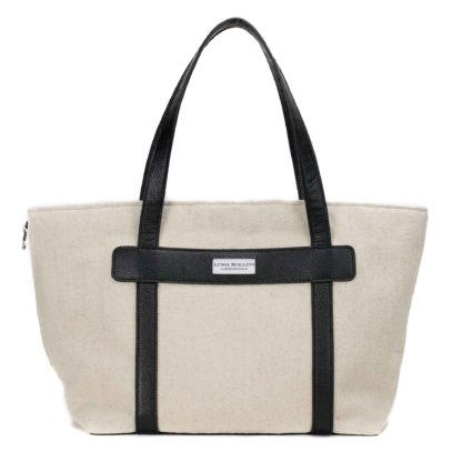 dog carrier in canvas and leather black